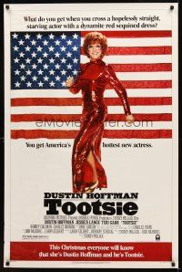 7g771 TOOTSIE advance 1sh '82 full-length Dustin Hoffman in drag by American flag!