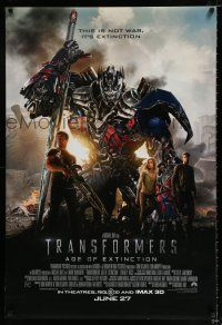 7g781 TRANSFORMERS: AGE OF EXTINCTION int'l advance DS 1sh '14 Mark Wahlberg, Nicola Peltz!