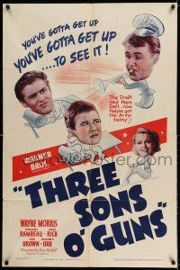 7h016 3 SONS O' GUNS 1sh '41 war comedy, wacky artwork of Wayne Morris, Marjorie Rambeau!