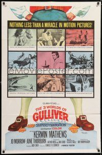 7h017 3 WORLDS OF GULLIVER 1sh '60 Ray Harryhausen fantasy classic, art of giant Kerwin Mathews!