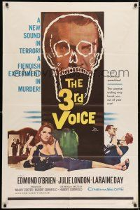 7h019 3rd VOICE 1sh '60 cool image of Edmund O'Brien in huge skull + sexy Julie London!
