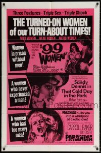 7h022 99 WOMEN/THAT COLD DAY IN THE PARK/PARANOIA 1sh '70 three features, triple sex & shock!