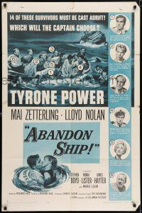 7h023 ABANDON SHIP 1sh '57 Tyrone Power & 25 survivors in a lifeboat which can hold only 12!
