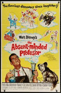 7h026 ABSENT-MINDED PROFESSOR 1sh R67 Walt Disney, Flubber, Fred MacMurray in title role!