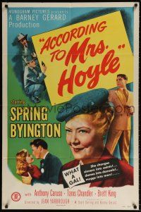 7h027 ACCORDING TO MRS HOYLE 1sh '51 Anthony Caruso, Spring Byington What a Gal!