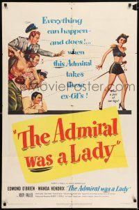 7h030 ADMIRAL WAS A LADY 1sh '50 Edmond O'Brien, boxer & cab driver lust after sexy Wanda Hendrix!