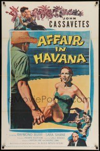 7h034 AFFAIR IN HAVANA 1sh '57 John Cassavetes in Cuba, art of Sara Shane in swimsuit on beach!