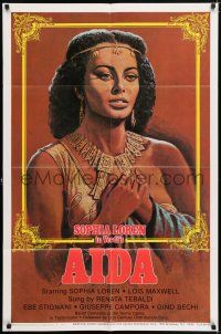 7h036 AIDA 1sh R82 different artwork of sexy Sophia Loren in Verdi's Italian opera!