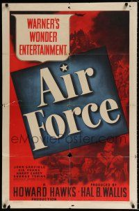 7h037 AIR FORCE 1sh '43 Howard Hawks, John Garfield, Gig Young, Warner's Wonder Entertainment!
