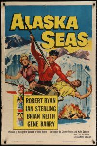 7h039 ALASKA SEAS 1sh '54 cool art of Robert Ryan attacking man with harpoon!