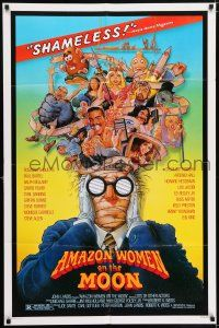 7h046 AMAZON WOMEN ON THE MOON 1sh '87 Joe Dante, cool wacky art of cast by William Stout!