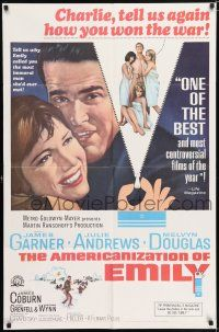 7h047 AMERICANIZATION OF EMILY reviews 1sh '64 James Garner, Julie Andrews, Paddy Chayefsky!