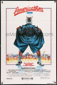 7h048 AMERICATHON 1sh '79 great wacky artwork of Uncle Sam by Robert Grossman!