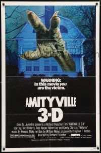 7h049 AMITYVILLE 3D 1sh '83 cool 3-D image of huge monster hand reaching from house!