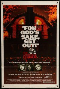 7h050 AMITYVILLE HORROR 1sh '79 great image of haunted house, for God's sake get out!
