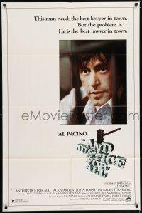 7h051 AND JUSTICE FOR ALL 1sh '79 Al Pacino, Jack Warden, directed by Norman Jewison!