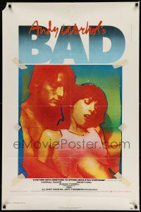 7h052 ANDY WARHOL'S BAD 1sh '77 Carroll Baker, Perry King, sexploitation black comedy!