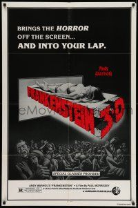 7h053 ANDY WARHOL'S FRANKENSTEIN 1sh R80s cool 3D art of near-naked girl coming off screen!