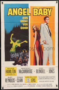 7h056 ANGEL BABY 1sh '61 full-length George Hamilton standing with sexiest Salome Jens!