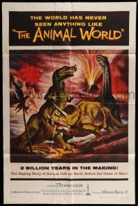 7h058 ANIMAL WORLD 1sh '56 great artwork of prehistoric dinosaurs & erupting volcano!
