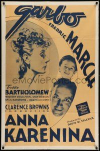 7h059 ANNA KARENINA 1sh R48 beautiful Greta Garbo, Fredric March, Freddie Bartholomew!