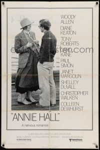 7h061 ANNIE HALL 1sh '77 full-length Woody Allen & Diane Keaton in a nervous romance!