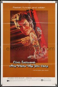 7h062 ANY WHICH WAY YOU CAN 1sh '80 cool artwork of Clint Eastwood by Bob Peak!