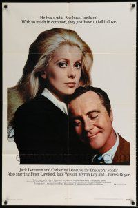 7h063 APRIL FOOLS 1sh '69 Jack Lemmon & Catherine Deneuve are married but not to each other!
