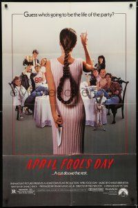 7h064 APRIL FOOLS DAY 1sh '86 wacky horror, great image of girl with knife & noose hair!