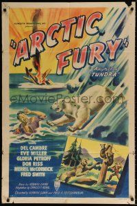 7h065 ARCTIC FURY style A 1sh '49 cool art of polar bear attacking crashed bush pilot!