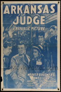 7h066 ARKANSAS JUDGE 1sh R48 Weaver Bros & Elviry w/cowboy star Roy Rogers!