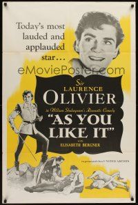 7h067 AS YOU LIKE IT 1sh R49 Sir Laurence Olivier in William Shakespeare's romantic comedy!