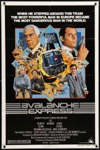 7h068 AVALANCHE EXPRESS 1sh '79 Lee Marvin, Robert Shaw, cool action art by Larry Salk!