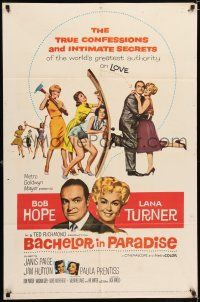 7h070 BACHELOR IN PARADISE 1sh '61 world's greatest lover Bob Hope romances sexy Lana Turner!