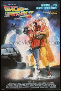 7h071 BACK TO THE FUTURE II 1sh '89 getting back was only the beginning, cool Delorean!
