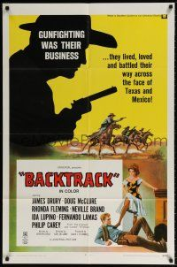 7h072 BACKTRACK 1sh '69 James Drury, Doug McClure, gunfighting was their business!