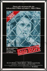 7h073 BAD BOYS video poster '83 life has pushed Sean Penn into a corner & he's coming out fighting!