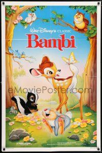 7h074 BAMBI 1sh R88 Walt Disney cartoon deer classic, great art with Thumper & Flower!