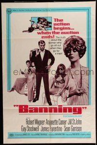 7h075 BANNING 1sh '67 Robert Wagner, Jill St. John, the action begins when the auction ends!