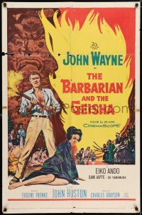 7h076 BARBARIAN & THE GEISHA 1sh '58 John Huston, art of John Wayne with torch & Eiko Ando!