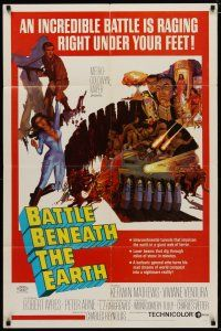7h079 BATTLE BENEATH THE EARTH 1sh '68 cool sci-fi art of Kerwin Mathews & sexy Viviane Ventura!