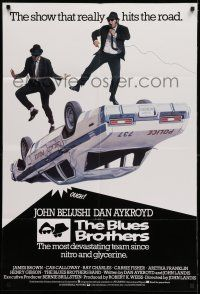 7h002 BLUES BROTHERS English 1sh '80 art of Belushi & Aykroyd singing & dancing on police car!