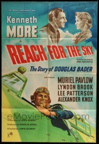7h008 REACH FOR THE SKY English 1sh '57 cool images of pilot Kenneth More, airplanes!