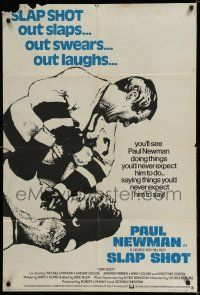 7h009 SLAP SHOT English 1sh '77 cool different image of hockey player Paul Newman in fight!