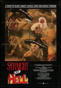 7h010 STRAIGHT TO HELL English 1sh '87 Alex Cox, Elvis Costello, wild artwork by Posada!