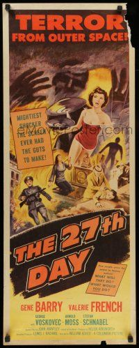 7k004 27th DAY insert '57 terror from space, mightiest shocker they ever had the guts to make!