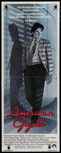 7k014 AMERICAN GIGOLO int'l insert '80 handsomest male prostitute Richard Gere is framed for murder!