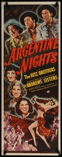 7k019 ARGENTINE NIGHTS insert '40 The Ritz Brothers, The Andrews Sisters, art of sexy showgirls!