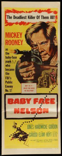 7k022 BABY FACE NELSON insert '57 great art of Public Enemy No. 1 Mickey Rooney w/tommy gun!