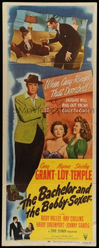 7k023 BACHELOR & THE BOBBY-SOXER insert '47 Cary Grant dates Shirley Temple & sexy Myrna Loy!